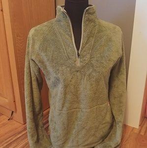 Northface Fuzzy Olive Green Half Zip Sweater.